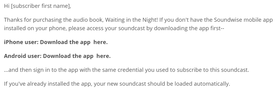 audiobook purchase email template