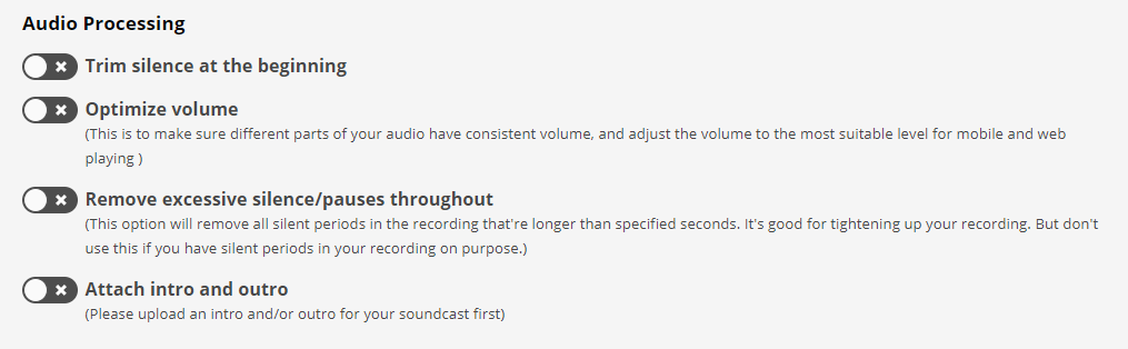 audiobook file processing options