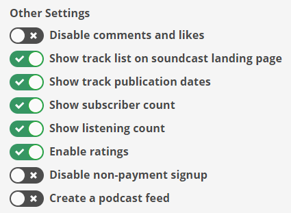 other audiobook settings